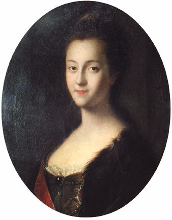 Young Catherine soon after her arrival in Russia, by Louis Caravaque, ca. 1745.