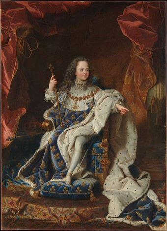 Louis XV as a child in coronation robes, portrait by Hyacinthe Rigaud, Metropolitan Museum of Art.