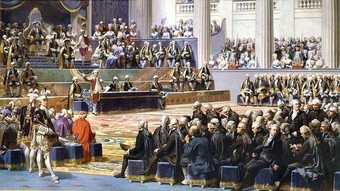 Painting by Auguste Coudershowing the opening of the Estates-General, ca. 1838.