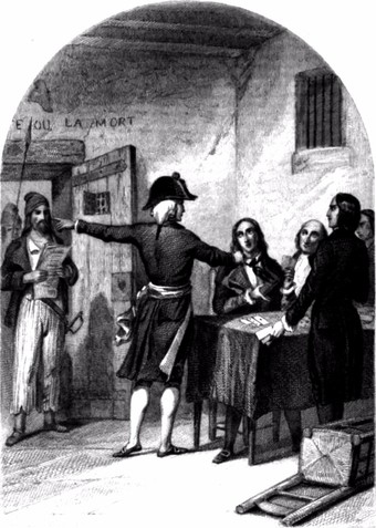The Girondins in the La Force Prison after their arrest. Woodcut from 1845.