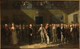 The meeting at Pillnitz Castle in 1791, oil painting by Johann Heinrich Schmidt.