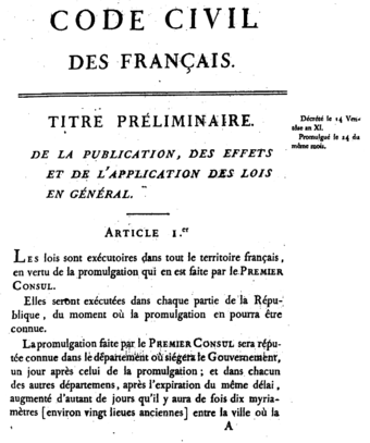 First page of the 1804 original edition of the Napoleonic Code.