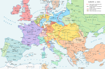 A map of the national boundaries within Europe set by the Congress of Vienna.