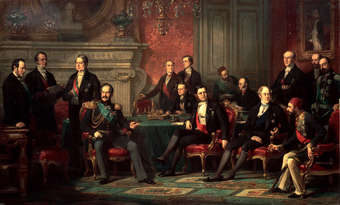 Diplomats at the Congress of Paris, 1856, settling the Crimean War; painting by Edouard Louis Dubufe. It depicts 15 men sitting and standing around a lavish parlor room.