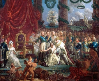 A painting of a large group of people surrounding the royal court. In the center it shows Louis XVIII, in royal attire, including a crown, lifting up a falling woman, symbolizing France.