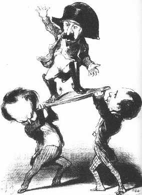 """A cartoon by Honoré Daumier showing two men struggling to hold up Louis Napoleon with a caption: """"Messieurs Victor Hugo and Emile de Girardin try to raise Prince Louis upon a shield [in the heroic Roman fashion]: not too steady!"""""""