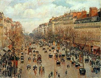 An impressionist painting of Boulevard Montemartre (Paris) filled with horse-drawn carriages and pedestrians