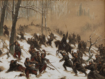 Painting of French soldiers assaulted by German infantry in a snowy forest during the Franco-Prussian War, 1870.