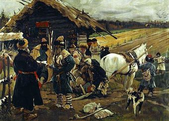 A painting depicting a family of serfs leaving their landlord. It shows several peasants with their belongings packed onto a cart tied to a horse, standing by a small house. A large farm field is shown in the background.