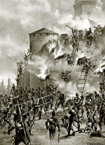 Image of the Russian soldiers storming a castle wall during the battle of Ganja.