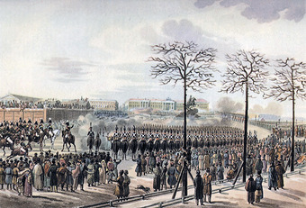 Image of the Decembrist revolt in Peters Square. The image shows loyalist cavalry firing upon the rebels in the center of the square, with onlookers surrounding the fighting.