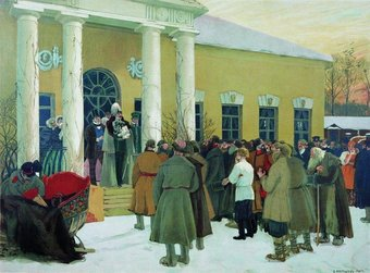 A 1907 painting by Boris Kustodiev depicting Russian serfs listening to the proclamation of the Emancipation Manifesto in 1861. A few dozen peasants stand around a porch with a nobleman reading from a piece of paper, in front of a yellow house.
