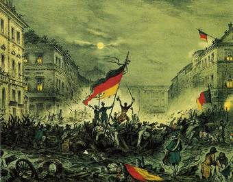 A painting of the uprising in Berlin 1848. It shows several people atop battle-worn barricades holding a tattered German flag.
