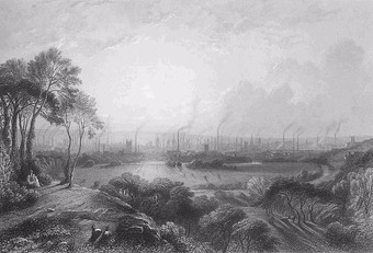 Manchester known as Cottonopolis, pictured in 1840, showing the mass of factory chimneys, Engraving byEdward Goodall(1795-1870), original titleManchester, from Kersal Moorafter a painting of W. Wylde.
