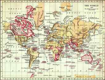 Map of the world from 1897. The British Empire (marked in pink) was the superpower of the 19th century.