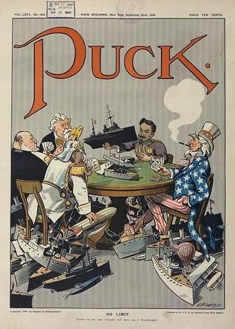 """A political cartoon show US, Germany, Britain, France and Japan engaged in naval race in a """"no limit"""" game, depicted as each nation, in caricature, seated around a card table using battle ships as chips in a poker game."""