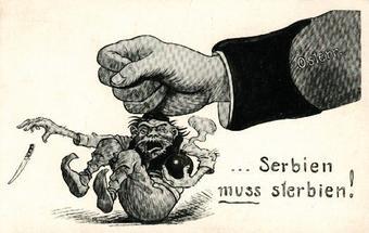 Political cartoon caricature shows an Austrian hand crushing a Serb.