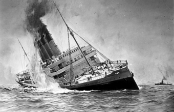 A 1915 painting of the sinking of the Lusitania, a large passenger ocean liner leaning to the side, on fire and smoking, with passengers aboard.