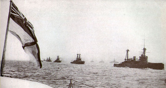 The Grand Fleet sailing in parallel columns during the First World War