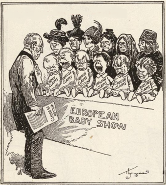 """American political cartoon, 1919. It depicts Wilson holding his 14 points on a piece of paper and label """"judge,"""" looking over the """"European Baby Show,"""" which is a row of babies labeled with the various nations of WWI."""