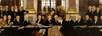 A painting of German Johannes Bell signing the Treaty of Versailles in the Hall of Mirrors, with various Allied delegations sitting and standing in front of him.