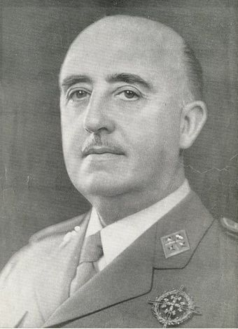 A close-up photographic portrait of Francisco Franco in a military uniform.