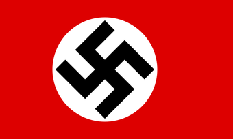 Image of the Nazi flag with a black swastika surrounded by red.