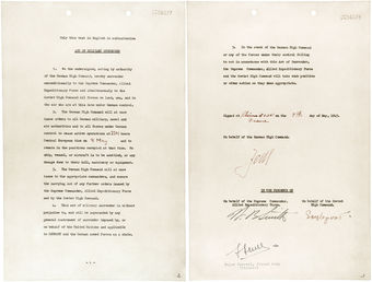 Photo of the text of the German Instrument of Surrender