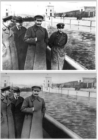Two photos of Joseph Stalin and other men, in the second photo one man was edited out by censors.