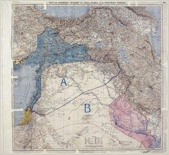 Map of Sykes–Picot Agreement showing Eastern Turkey in Asia, Syria and Western Persia, and areas of control and influence agreed between the British and the French.