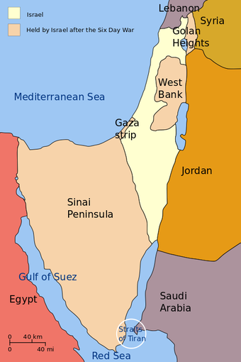 Map of Israel and the land seized during the Six-Day War, including the Sinai Peninsula and the Golan Heights.