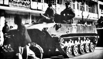 Soviet paratroopers aboard a BMD-1 tank in Kabul during the Soviet invasion.