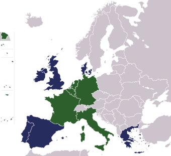 The founding members include France, Italy, Luxembourg, Belgium, The Netherlands, and Germany. Members added later include the United Kingdom, Portugal, Spain, Denmark, and Greece.