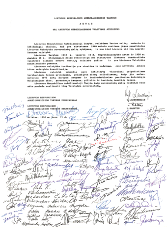 Act of Restoration of Independence of Lithuania, March 11, 1990