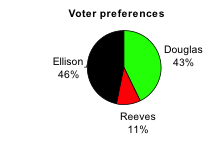 Pie Chart labeled Voter preferences. Almost half the left side is black (labeled Elison, 46%), Most of the right is green (labeled Douglas, 43%), and a small portion near the bottom is red (labeled Reeves 11%).