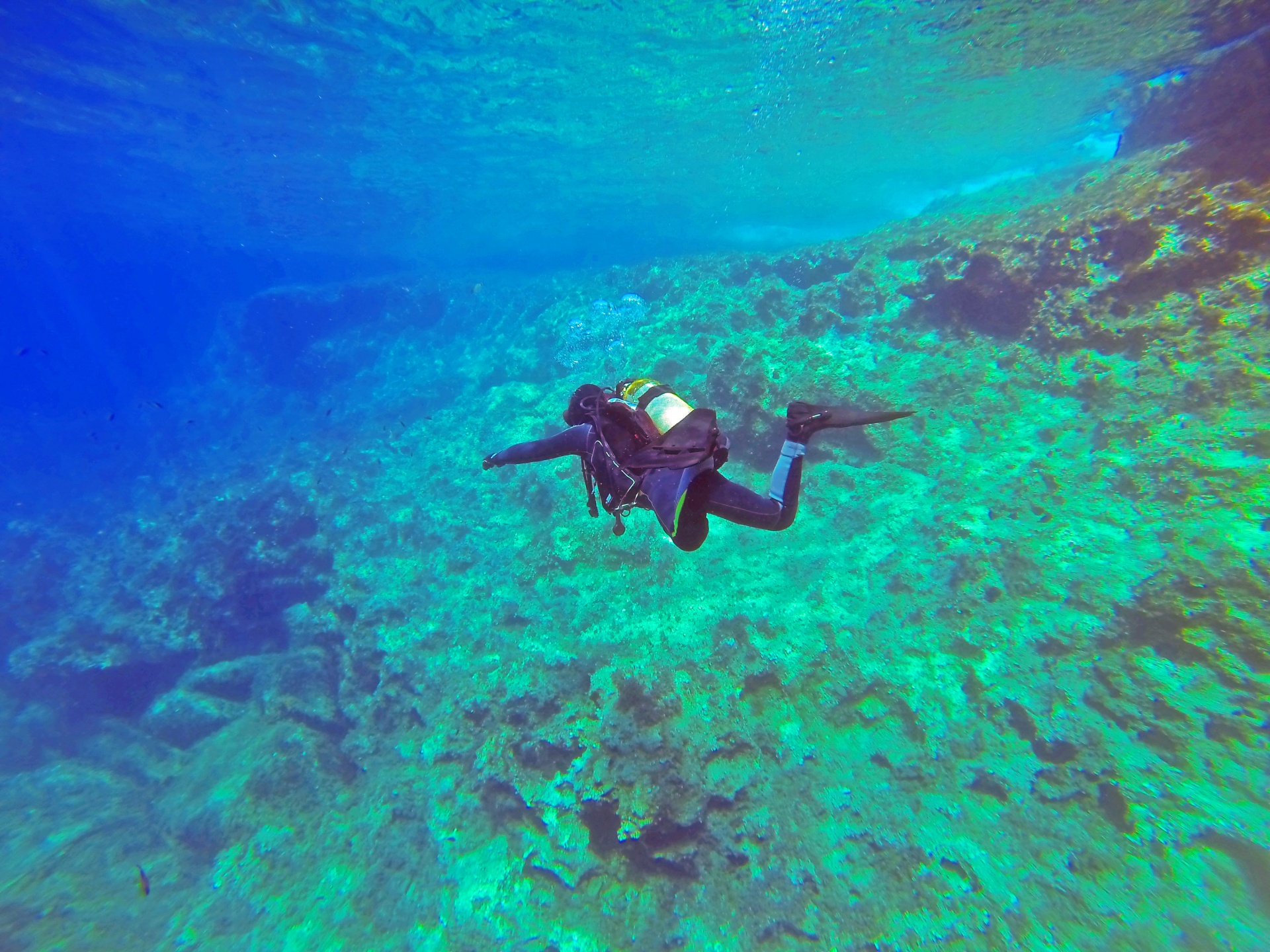 A scuba diver swimming in blue-green water over a coral reef