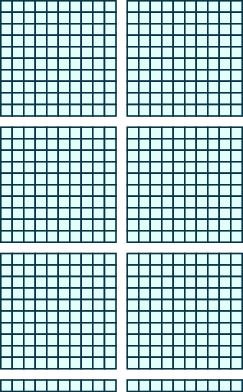 An image consisting of two items. The first item is six squares of 100 blocks each, 10 blocks wide and 10 blocks tall. The second item is 2 horizontal rods with 10 blocks each.