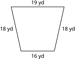 A trapezoid with horizontal top length of 19 yards, the side lengths are 18 yards and are diagonal, and the horizontal bottom length is 16 yards.