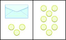The image is divided in half vertically. On the left side is an envelope with three counters below it. On the right side is 8 counters.