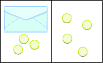 The image is divided in half vertically. On the left side is an envelope with three counters below it. On the right side is 4 counters.