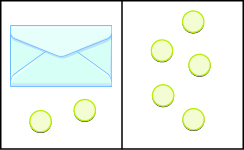 The image is divided in half vertically. On the left side is an envelope with 2 counters below it. On the right side is 5 counters.