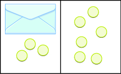The image is divided in half vertically. On the left side is an envelope with three counters below it. On the right side is 6 counters.