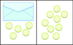 The image is divided in half vertically. On the left side is an envelope with 5 counters below it. On the right side is 9 counters.