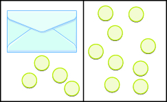 This image is divided into two parts: the first part shows an envelope and 4 blue counters and next to it, the second part shows 9 counters.