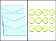 This image has two columns. In the first column are four envelopes. In the second column there are twelve blue circles.
