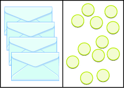 This image has two columns. In the first column are four envelopes. In the second column there are 12 blue circles.