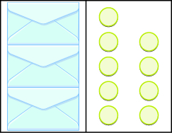 This image has two columns. In the first column there are three envelopes. In the second column there are two vertical rows. The first row includes five blue circles, the second row includes four blue circles.