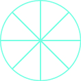A circle is divided into eight equal pieces.