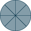 A circle is divided into 8 sections, of which all are shaded.