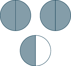 Three circles are shown. Each is divided into two sections. The first two circles are completely shaded. Half of the third circle is shaded.